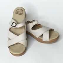 Dansko Sandals Leather Adjustable Strap Slip On Sela Off White 41 - $43.54