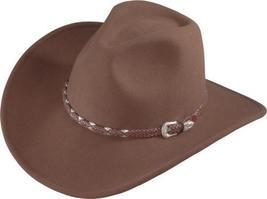 Henschel Wool Cowboy Hat Braided Band Silver Buckle Water Repellent Pecan Black - $62.00