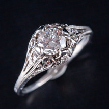 Vintage 1920's 18k White Gold Round Diamond Engagement Ring .57ctw 2.7g - $3,190.00