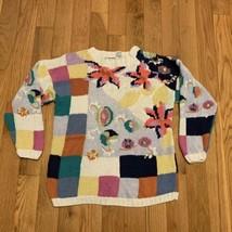 Vintage Woman's Ivy Wear Cardigan Hand Knit Sweater Medium Pastel - $29.69