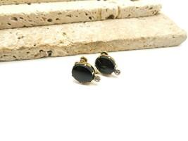 Vintage Van Dell 12k Gold Filled Black White Rhinestone Screw Back Earri... - $16.99