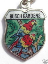 BUSCH GARDENS Florida Vintag Silver Travel Shield Charm - $22.73