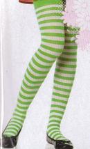CHILDS GREEN & WHITE STRIPED TIGHTS LARGE  - $5.25