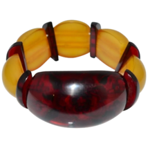 Vtg Rare Bakelite Cherry Amber Yellow Flower Reverse Carved Stretch Bracelet - $1,188.00