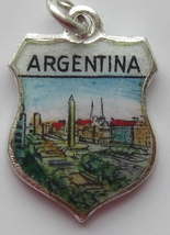 Buenos Aires ARGENTINA Enamel Travel Shield Charm NICE - $27.31