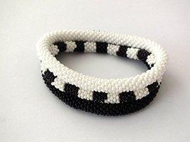Beaded Bracelets Triple Set Black White Seed Beads Stackable Bangle - $17.00+