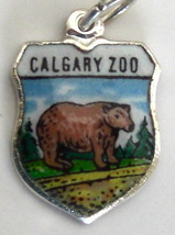 CALGARY Zoo Canada BEAR Vint Enamel Travel Shield Charm - $22.73