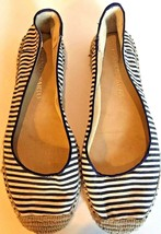 Franco Sarto Women Size 7 Espadrille Flats Whip Canvas Shoes Blue White Striped - $25.47