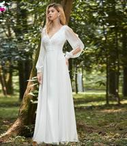 Elegant V Neck Long Sleeve Appliques Lace Chiffon Bridal Gown image 3