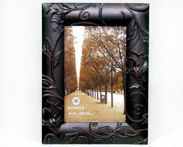 Brown Embossed Metal Picture Frame by Burnes 4x6 - $10.99