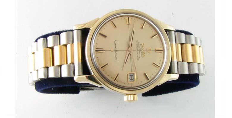 Vintage 14k Gold Retro Omega PiePan Dial Constellation Date Uhr Wrist Watch 1968