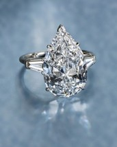 Certified 4.35Ct White Pear Cut Diamond Engagement Ring in Solid 14K Whi... - £209.04 GBP
