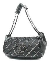 Auth CHANEL Shoulder Bag Black Leather Matelasse Wild Stitch Flap Logo B4604 - $1,883.97