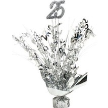 "2 Metallic Silver 25th Anniversary or Birthday Balloon Weights  15"" tall - $9.85"