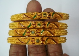 vintage bangle 22kt gold bangle bracelet set 4pc handmade gold jewelry - $5,445.00