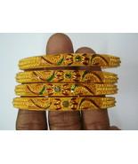 vintage bangle 22kt gold bangle bracelet set 4pc handmade gold jewelry - $5,445.00