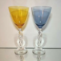 2 (Two) LENOX CRYSTAL CARAT Diamond Stem Wine Goblets Amber & Blue - Signed - $28.49