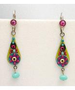 Signed ADAYA Maya Crystal Beads Mosaic Earrings - $29.00