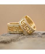 Men's 14k Gold Lab Diamond Greek Key Hoop Earrings - £19.36 GBP