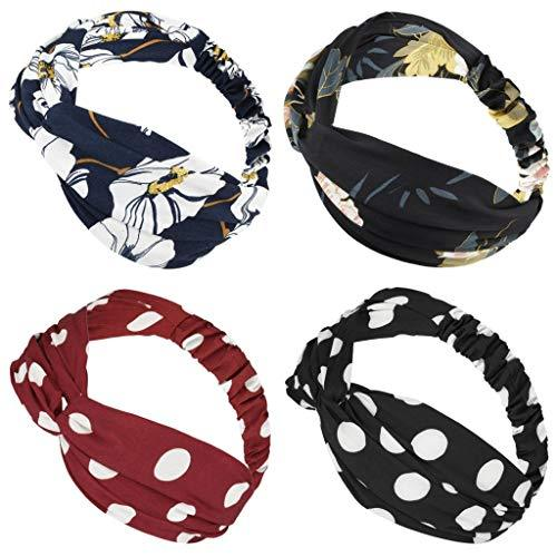 moonsix Headbands for Women, Elastic Turban Head Wrap Boho Floral Criss Cross Ha