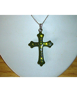 Green Lucite and Rhinestone Cross Necklace - $5.00