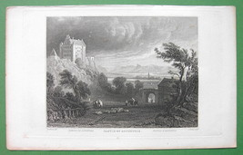 GERMANY Argenfels Castle on Rhine River - 1832 Antique Print Engraving - $5.74