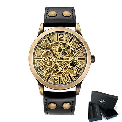 Al automatic wrist watch men 2018 shenhua mechanical steampunk watches self winding mens leather