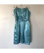 Davids Bridal SZ 10 Light Blue Strapless Short Bridesmaid Dress #83707hc... - $32.73