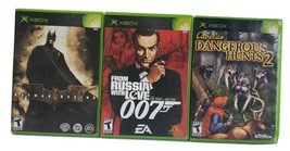 3 XBOX Games-From Russia W/Love 007, Batman Begins, Cabelas Dangerous Hunts 2 - $17.81