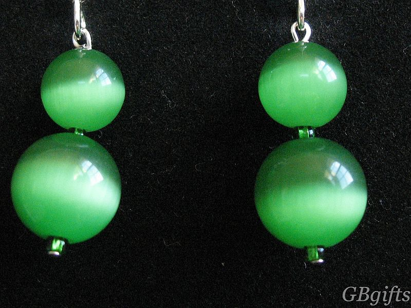 Green Catseye Earrings  #EG0400002