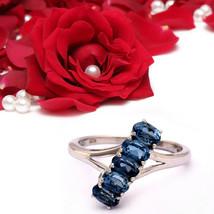 Shine Jewel 1.55 Ct Blue Topaz December Birthstone Asymmetric Ring 925 S... - $19.49