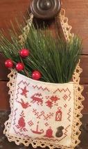 Colonial Christmas Hanging Pocket cross stitch chart Homespun Elegance - $8.10