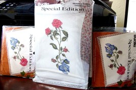 """3 kits - Stamped Xstitch Bucilla """"ROSES"""" 2 dresser scarves & pillowcases - $22.99"""