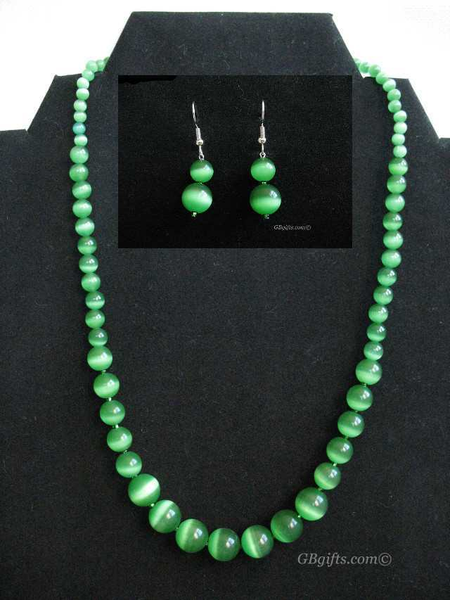 Green Catseye Earrings w/ Necklace
