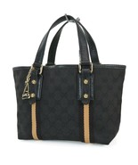 Authentic GUCCI Black GG Canvas and Leather Small Tote Hand Bag Purse #3... - $319.00