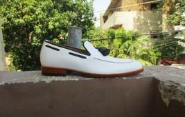 Handmade Men's White Leather Black Tassel Slip Ons Loafer Dress/Formal Shoes image 2