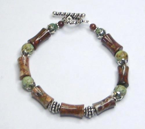 Primary image for Poppy Jasper, African Turquoise Gemstone Sterling Silver Bracelet