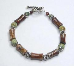Poppy Jasper, African Turquoise Gemstone Sterling Silver Bracelet - $407,01 MXN