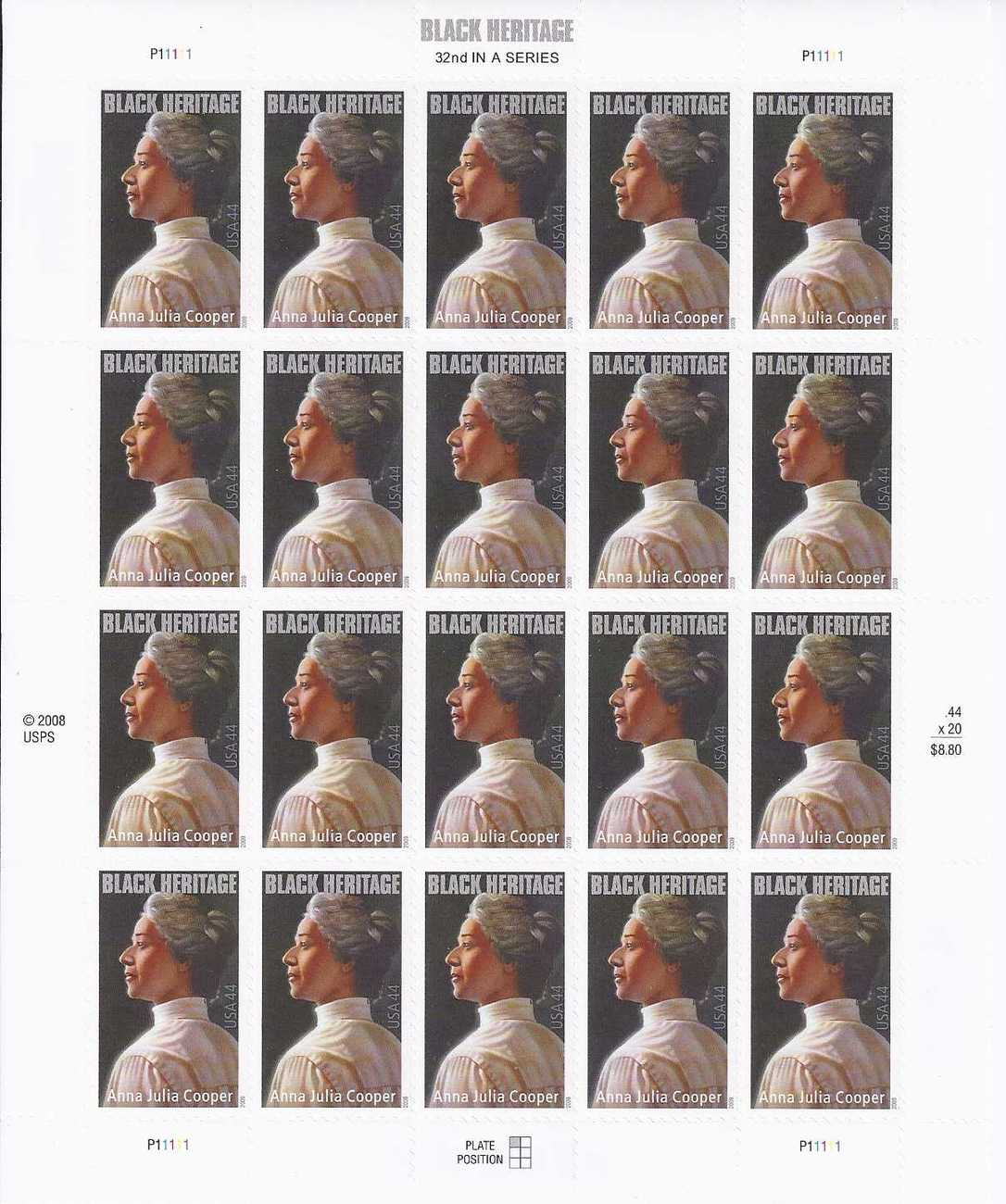 ANNA JULIA COOPER  - USPS MINT .44 cts Stamp Sheet  2013