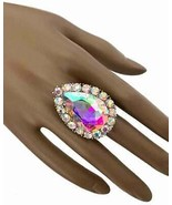 Aurora Borealis Crystal Stretch Bold Statement Ring, Drag Queen, Pageant... - $15.36