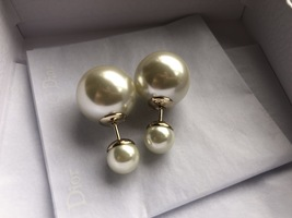 Auth Christian Dior Mise En Dior Tribales Double Pearl EARRINGS Classic Gold image 3