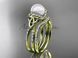 Celtic pearl womens wedding ring sets 14k yellow gold diamond engagement ring CT - $2,395.00