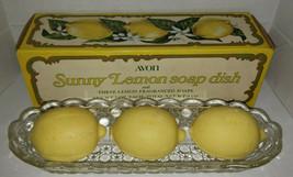 Vintage Avon Sunny Lemon Soap Dish w/ 3 Bars of Soap in Box - $12.99