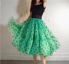 Pink Polka-Dot Puffy Tutu Skirt Outfit A-line Layered Plus Size Puffy Midi Skirt image 9