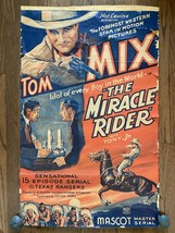 *THE MIRACLE RIDER (1935) Tom Mix 15-Chapter Western Serial One-Sheet Po... - $299.00