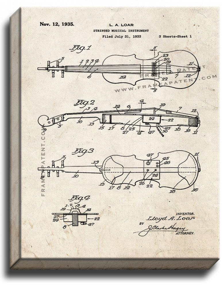Primary image for Stringed Musical Instrument Patent Print Old Look on Canvas
