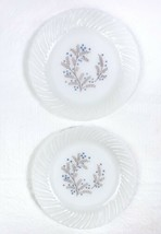 """Lot 2 Vtg Termocrisa Mexican Milk Glass 7"""" Plates Blue & Brown Floral Sw... - $9.79"""