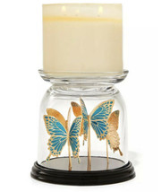 Bath & Body Works Butterfly Glass Cloche 3-Wick Pedestal Candle Holder NEW - $52.47