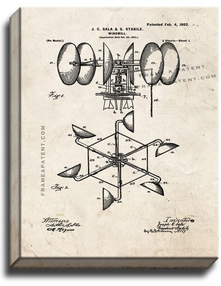 Primary image for Windmill Patent Print Old Look on Canvas