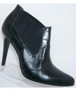 Anne Klein New York black leather almond toe elastic bootie stacked heel 9M - $33.30